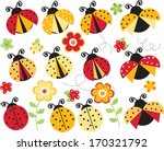 red and yellow ladybugs | Shutterstock .eps vector #170321792