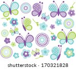 blue and green butterflies | Shutterstock .eps vector #170321828