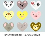 cute heart shaped animals set | Shutterstock .eps vector #170324525