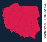 high detailed red map of poland ...   Shutterstock .eps vector #1703255668