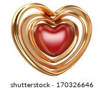 golden hearts shape isolated on a white background - stock photo