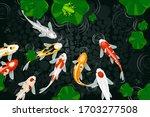 koi fish painting vector... | Shutterstock .eps vector #1703277508