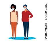 interracial women using face... | Shutterstock .eps vector #1703352802