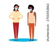 interracial women using face... | Shutterstock .eps vector #1703352862
