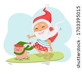 Santa Claus With Pig On...