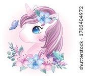 hand drawn cute unicorn portrait   Shutterstock .eps vector #1703404972