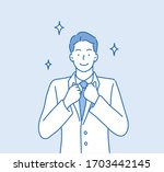 business man proud. hand drawn... | Shutterstock .eps vector #1703442145