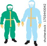 2 people in coverall protective ... | Shutterstock .eps vector #1703443042