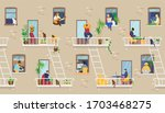 house exterior with people in... | Shutterstock .eps vector #1703468275