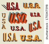 3d retro typography set  usa ... | Shutterstock .eps vector #170347598