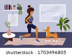 stay home  keep fit and... | Shutterstock .eps vector #1703496805
