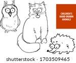 cute hand drawn cartoon cat ...   Shutterstock .eps vector #1703509465