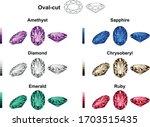 oval cut  amethyst sapphire... | Shutterstock .eps vector #1703515435