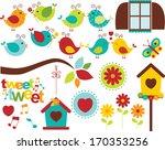 summer garden birds | Shutterstock .eps vector #170353256
