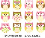 pink owls for girls | Shutterstock .eps vector #170353268