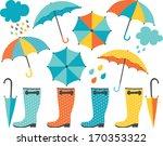 rain boots and umbrellas  boy  | Shutterstock .eps vector #170353322