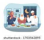 muslim family praying before... | Shutterstock .eps vector #1703562895