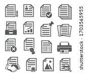 documents icons set on white... | Shutterstock .eps vector #1703565955