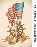 america,art,banner,cap,cartoon,fashion,flag,girl,honor,illustration,ink,lady,marines,military,national