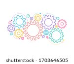 colorful connected gears and... | Shutterstock .eps vector #1703646505