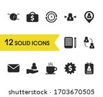 trade icons set with letter ...