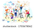 cute little kids drawing nature ... | Shutterstock .eps vector #1703678062