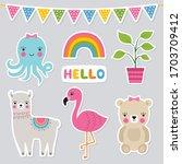 cute animal stickers  vector set | Shutterstock .eps vector #1703709412