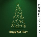 new year vector greeting card.... | Shutterstock .eps vector #170376722