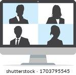 virtual meetings  work from...   Shutterstock .eps vector #1703795545