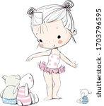 cute girl ballerina with toys   Shutterstock .eps vector #1703796595