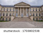 View of Palace of Justice of Amiens. Palace of Justice (Palais de Justice, 1868 - 1880) in city center of Amiens, Somme department, Picardie, France.