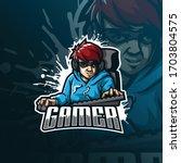 gamer mascot logo design vector ... | Shutterstock .eps vector #1703804575