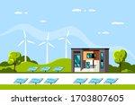 landscape with modern house ...   Shutterstock .eps vector #1703807605