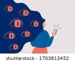spywares spy through the phone. ...   Shutterstock .eps vector #1703813452