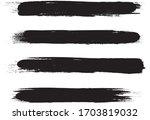 black brush stroke set isolated ... | Shutterstock .eps vector #1703819032