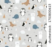 arctic animals seamless pattern ... | Shutterstock .eps vector #1703830615