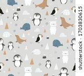 arctic animals seamless pattern ... | Shutterstock .eps vector #1703830615