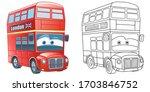 cute funny double decker bus in ... | Shutterstock .eps vector #1703846752