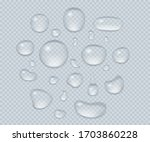 big set of transparent drops of ... | Shutterstock .eps vector #1703860228