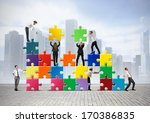 team of businesspeople build a... | Shutterstock . vector #170386835