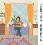 woman playing guitar  person...   Shutterstock .eps vector #1703918998