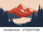 vintage mountain landscape and... | Shutterstock .eps vector #1703927548