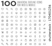 100 thin vector outline icons for web and mobile