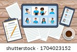 employee engaged in video...   Shutterstock .eps vector #1704023152