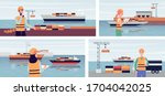 export ship port banner set... | Shutterstock .eps vector #1704042025