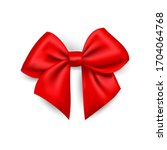 realistic red bow made of satin ... | Shutterstock .eps vector #1704064768