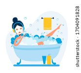 vector woman is taking bath and ... | Shutterstock .eps vector #1704091828