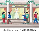 couple go to shopping in... | Shutterstock .eps vector #1704134395