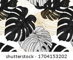 monstera black leaves  gold... | Shutterstock .eps vector #1704153202