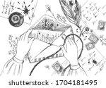 vector illustration of letter... | Shutterstock .eps vector #1704181495